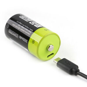 ZNTER 1.5V 3000mAh ≤2A Rechargeable C Size Li Battery With USB Charge Cable Line