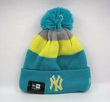 New Era Men's MLB New York YANKEES Block Stripe Aqua Beanie Bobble Hat-Taille Unique