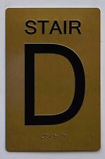 New listing Stair D Sign- Gold (Aluminium, Gold/Black,Size 6X9) .(ref1820)