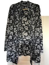 Laura Ashley Grey Charcoal Floral 100% Cotton Knit Lightweight Cardigan Size 18