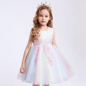 Girls Princess Fancy Dress Party Wedding Dresses Birthday Cosplay Costume Outfit