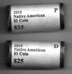 Lot of 2 Rolls 2015 P & D Native American Sacagawea Dollars US Mint Wrapped Roll