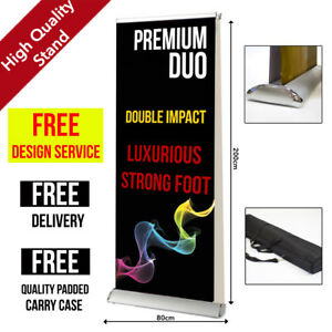Premium Duo Roller Banner 80x200cm  - Pop/Roll/Pull up Exhibition Display Stand