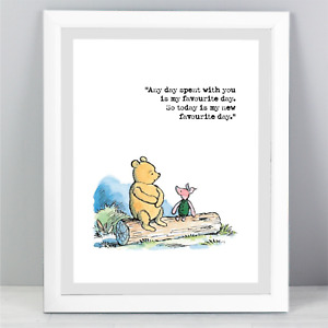 A4 Winnie The Pooh Quote Print Unframed Wall Art Minimalist Favourite Day