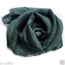 """Leinen Schal mit Fransen aus 100% Leinen """"Stonewashed"""" (48x170 cm) grün/violett"""