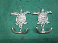 Cast Iron Nautical Sea Turtle Hooks Towel, Hat, Keys Cabin Decor Bronze Look