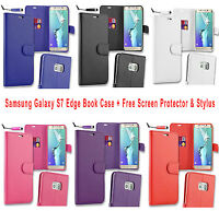 Samsung Galaxy S7 Edge Flip Wallet Case Cover with Free Protector & Stylus