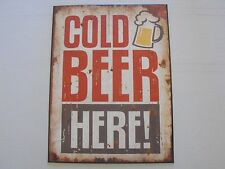 1 x tin sign man cave cold beer here hotel bar vintage antique art dad shed new