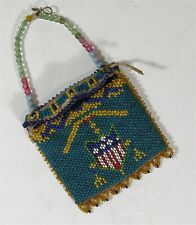 ca1900 Native American Comanche Indian Peyote Stitch Beaded Hide Flap Bag Amulet