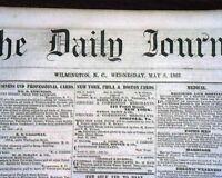 Rare CONFEDERATE Wilmington NC North Carolina CIVIL WAR Lincoln 1861 Newspaper