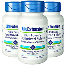 L-Methylfolate 5000mcg High Potency Optimized Folate Life Extension 3X30 Pills
