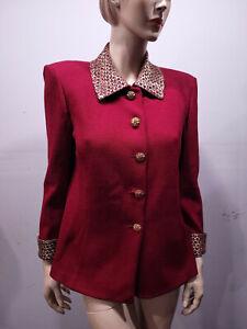 ST JOHN Evening by Marie Gray Size 10 Red Santana Knit Blazer Jacket