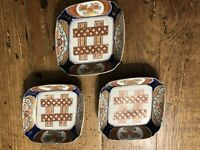 3 Antique Japanese Imari Porcelain Square Plates Tray 19th C
