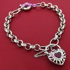 18k White Gold GF Bracelet Belcher Chain Rings Clasp Padlock Simulated Diamonds