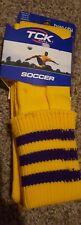 NEW TCK Soccer Socks Size Large Yellow with Purple Stripe Twin City
