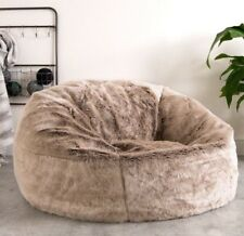 Icon XL Panelled Faux Fur Bean Bag Chair - Extra Large Bags DESIGNER (mink)