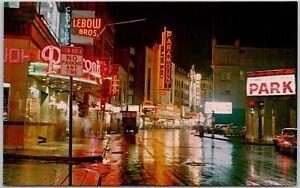 Postcard Theatre District At Night Boston Massachusetts Vintage 1950s? 1960s?