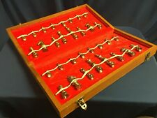 """Wooden Folding Chessboard 16"""" with Brass Metal Alloy Chess Pieces Game Set"""