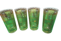 Set Of 4 Vintage 22K Gold Gilded Glass Tumblers Mid Century 10 Oz Glasses Green