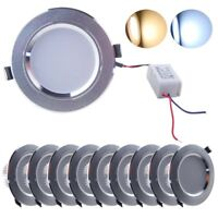 10x 7W LED Round Recessed Ceiling Flat Down Light Ultra Slim Day Warm White UK