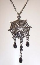 DARK SPIDER + WEB PENDANT Black Glass BEAD NECKLACE Goth/Gothic Wicca Witch