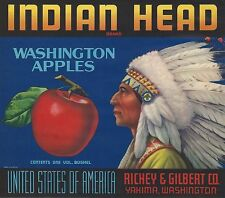 "RARE OLD ORIGINAL 1946 LITHO ""INDIAN HEAD BRAND"" BOX LABEL ART YAKIMA WASHINGTON"