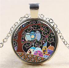 silver Glass Chain Pendant Necklace 1pcs Vintage Owl Cabochon Tibetan Tibet