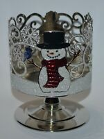 BATH BODY WORKS SNOW BUDDIES SNOWMEN PEDESTAL LARGE 3 WICK CANDLE HOLDER SLEEVE