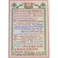 23rd Psalm THE LORD IS MY SHEPHERD Vintage Cross Stitch Kit Vera M Klein Linen