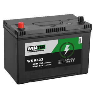 Autobatterie WINTER 12V 95Ah + Plus Pol Links Asia Starterbatterie ersetzt 100Ah
