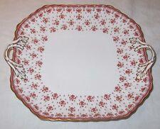 Spode China Fleur de Lys Red Square Handled Cake Plate England Y7481A Gold Trim