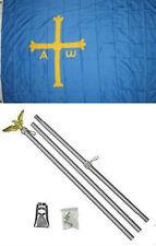 3x5 Asturias Spain Victory Cross Flag Aluminum Pole Kit Set 3'x5'