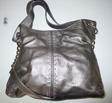 MICHAEL KORS Astor Uptown Studded Pewter Leather L/XL Handbag Shoulder Tote Bag