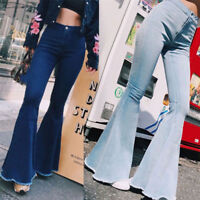 Womens Flare Pants High Waist Bell Bottom Skinny Wide Leg Denim Hiphop Trousers