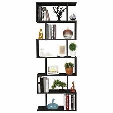 a19e2b030e04 Black Wood Bookcase Bookshelf S Shape 6 Tier Shelves Standing Shelving  Storage