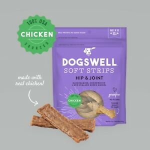 Dogswell Hip and Joint Blend Soft Strips Chicken Flavor Dog Jerky 20 Ounces