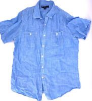 Daniel Cremieux The Laundered Linen Short Sleeve Button Up Shirt SKY BLUE Size L