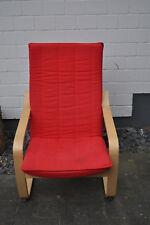 Ikea Poäng Sessel, Schaukelstuhl Birke mit rotem Polster