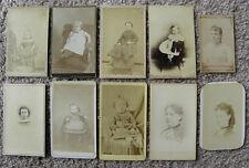 SET OF 10 CDV PORTRAITS LADIES + GIRLS FROM MI, PA, VT, NY, SOME INFO ON BACK
