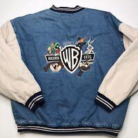 Vintage 1999 Warner Bros Jacket Looney Tunes Embroidered Denim Bomber Mens Large