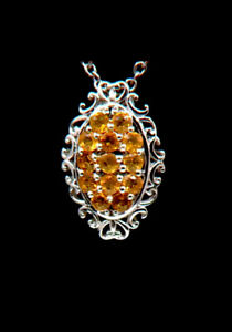 NEW Natural Fire Opal Leafy Scroll Necklace, High Polish Platinum MagneticClasp