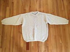 WOOLMARK Sz L 100% Wool Fisherman's Cable Knit Sweater - Made in Scotland