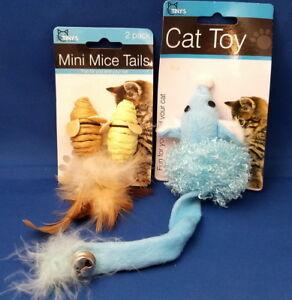 Lot of 2 CAT Pet Animal TOYS - Fuzzy Feather Mice Teasing Kitten Fun SALE