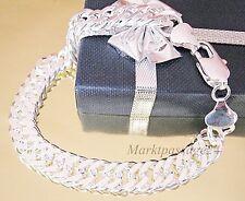 Doppel PANZERARMBAND 10 mm Breit Silber versilbert 20 cm Armband Damen Herren