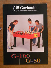 GARLANDO FOOSBALL TABLE BROCHURE POOL SOCCER GAME VINTAGE PAPER