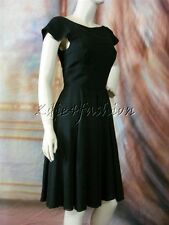 $2800 New with Tags Authentic FENDI Black Cap Sleeve Flowing Flare Dress 8 42