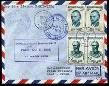 1958 - AIR FRANCE - Inaugurazione linea aerea  Parigi-Quito-Lima