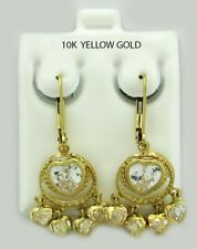 WHITE SAPPHIRE HEART CHANDELIER EARRINGS 10k YELLOW GOLD * NWT * FREE SHIPPING *