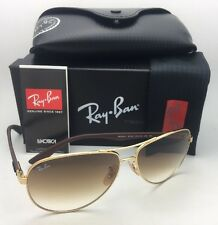 RAY-BAN Sunglasses TECH SERIES RB 8313 001/51 Gold-Carbon Fiber Aviator w/ Brown