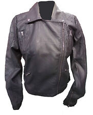 Womens Ladies New Black Long Sleeve Leather Zip Quilted Biker Jacket/Coat 8-14